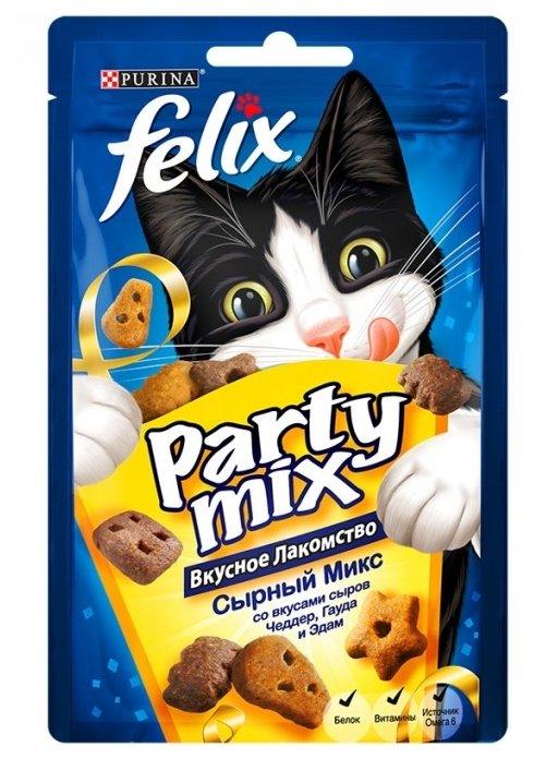 Лакомство для кошек Felix Party Mix Сырный микс со вкусом чедера, гауды и эдама