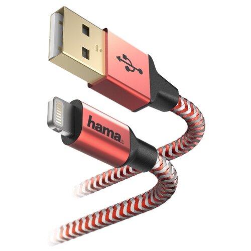 Купить Кабель HAMA USB - Apple Lightning Reflective 1.5 м красный