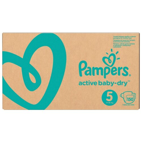 Pampers подгузники Active Baby-Dry 5 (11-16 кг) 150 шт. подгузники pampers active baby dry 5 11 16 кг 60 шт
