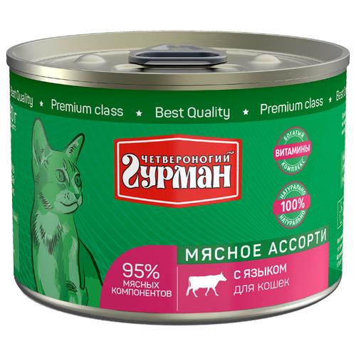Корм для кошек Четвероногий Гурман (0.19 кг) 1 шт. Мясное ассорти с языком для кошекКорма для кошек<br>