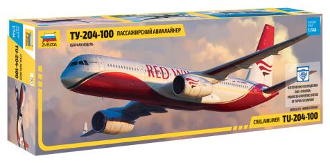 Сборная модель ZVEZDA Пассажирский авиалайнер Ту-204-100 (7023) 1:144