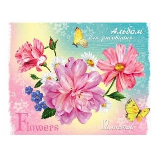 Купить Альбом для рисования Проф-Пресс Цветы и желтые бабочки 21 х 14.8 см (A5), 12 л., Альбомы для рисования