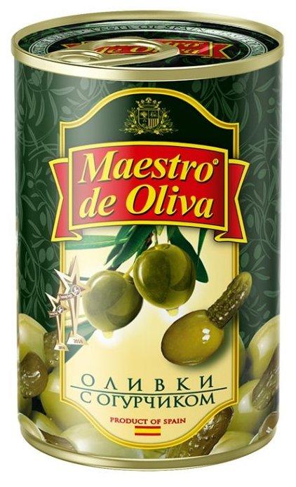 Maestro De Oliva Оливки с огурчиком в масле, жестяная банка 300 г