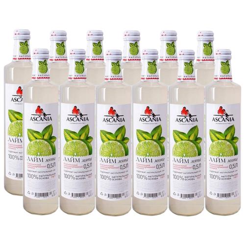 Газированный напиток Ascania Лайм + Мята, 0.5 л, 12 шт. напиток газированный 7 up лайм и мята 1 5 л