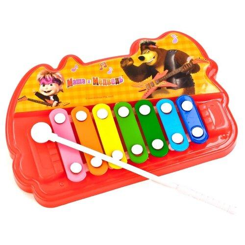 Играем вместе металлофон Маша Медведь 1610M480-R красный/желтый, Детские музыкальные инструменты  - купить со скидкой