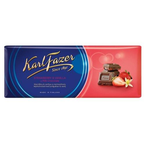 Шоколад Fazer молочный с клубникой и ванилью, 190 г karl fazer молочный шоколад с крошкой соленой карамели 200 г
