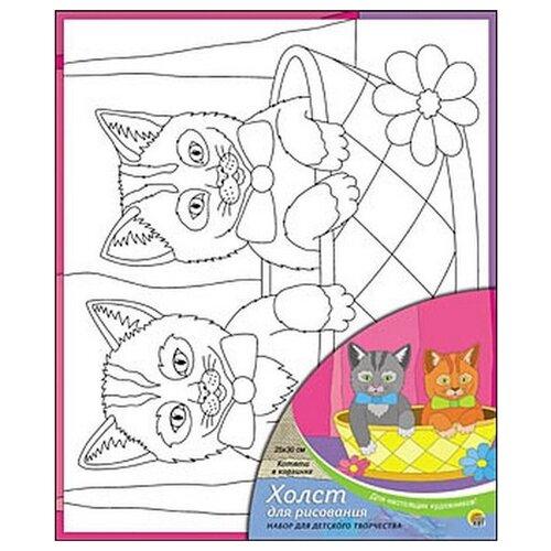 Купить Рыжий кот Картина по контурам Котята в корзинке 25х30 см (Х-0315), Картины по номерам и контурам