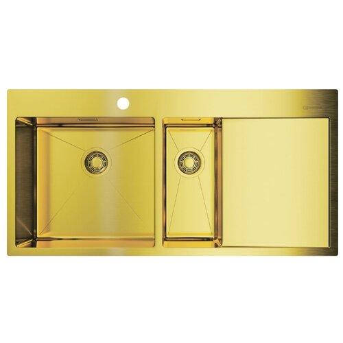 Врезная кухонная мойка 100 см OMOIKIRI Akisame 100-2-LG-L светлое золото врезная кухонная мойка 65 см omoikiri akisame 65 lg r светлое золото