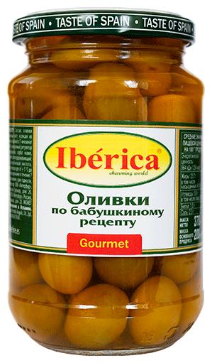 Iberica Оливки по бабушкиному рецепту в рассоле, стеклянная банка 370 г