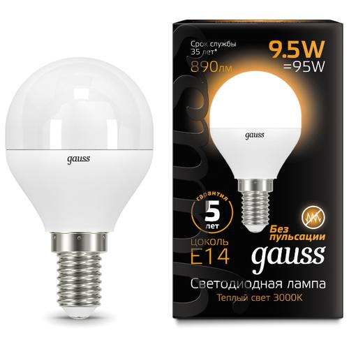 Лампа светодиодная gauss 105101110, E14, G45, 9.5Вт лампа светодиодная gauss 105101210 e14 g45 9 5вт