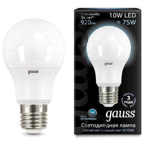 Лампа светодиодная gauss 102502210, E27, A60, 10Вт упаковка светодиодных ламп 10 шт gauss 102502210 e27 a60 10вт