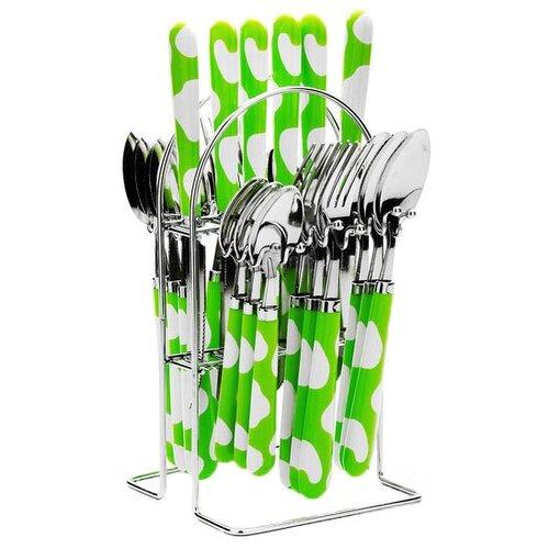 MAYER & BOCH Набор столовых приборов на подставке 22491, 25 шт. салатовый / белый / серебристыйСтоловые приборы<br>