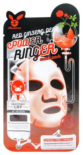 Elizavecca регенерирующая тканевая маска с экстрактом красного женьшеня Red Ginseng Deep Power Ringer Mask Pack