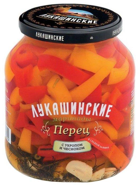 Перец с укропом и чесноком в сладкой заливке ЛУКАШИНСКИЕ стеклянная банка 670 г