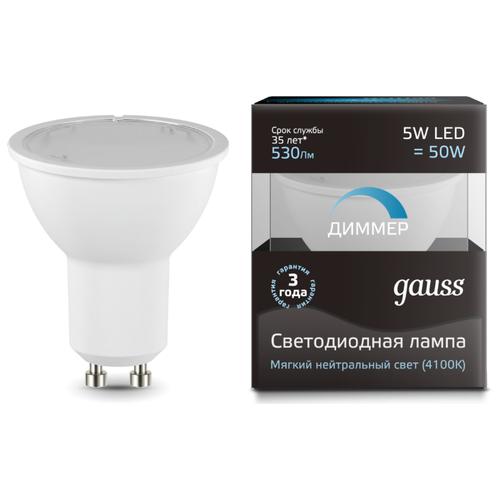 Лампа светодиодная gauss 101506205-D, GU10, MR16, 5Вт лампа светодиодная gauss 101505205 d gu5 3 jcdr 5вт