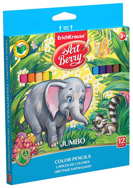 ErichKrause Цветные карандаши ArtBerry Jumbo 12 цветов с точилкой (32474)