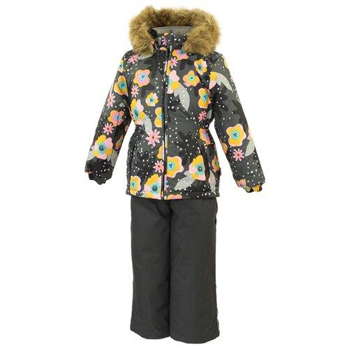 Комплект с полукомбинезоном Huppa размер 92, 81948 gray pattern/dark gray куртка huppa isla 17820020 размер 116 73320 white pattern gray