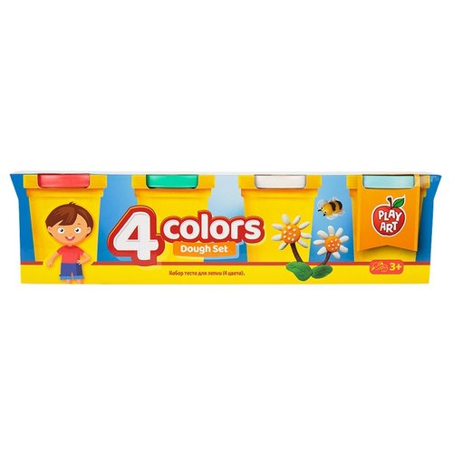 Масса для лепки Play Art набор 4 цвета (PA-3216-3) масса для лепки play art набор 8 цветов pa 3282