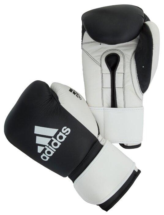 Боксерские тренировочные перчатки Перчатки боксерские adidas Glory Strap Professional черно-белые