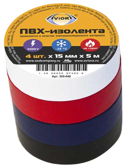 Набор изоленты Aviora ПВХ 15 мм x 5 м 4 шт.