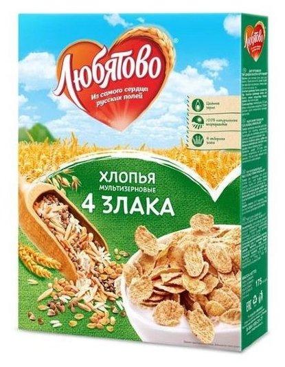 Готовый завтрак Любятово Хлопья мультизерновые 4 злака, коробка