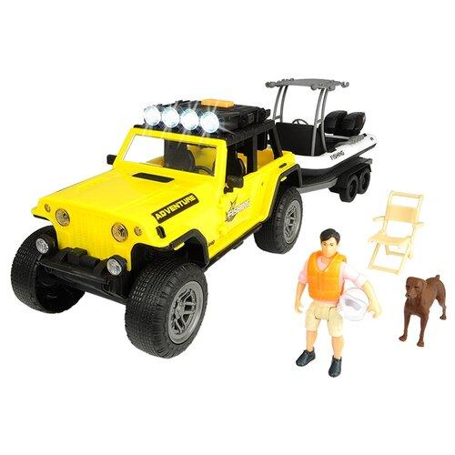 Набор техники Dickie Toys Playlife Fishing (3838001) 1:24 желтый/белый/черный dickie светофор набор дорожных знаков 24 см 3741001