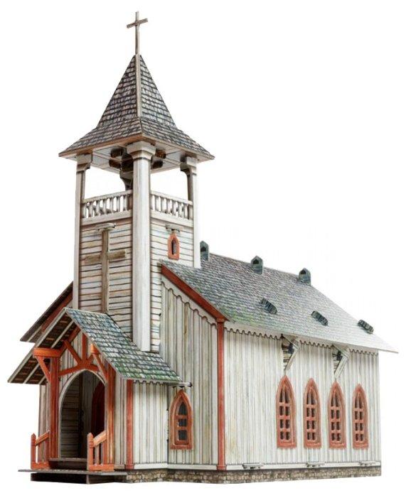 Сборная модель Умная Бумага Дикий Запад Церковь (461) 1:56