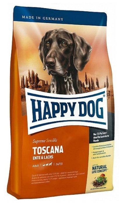 Корм для собак Happy Dog Supreme Sensible Toscana для здоровья кожи и шерсти, лосось, утка 12.5 кг