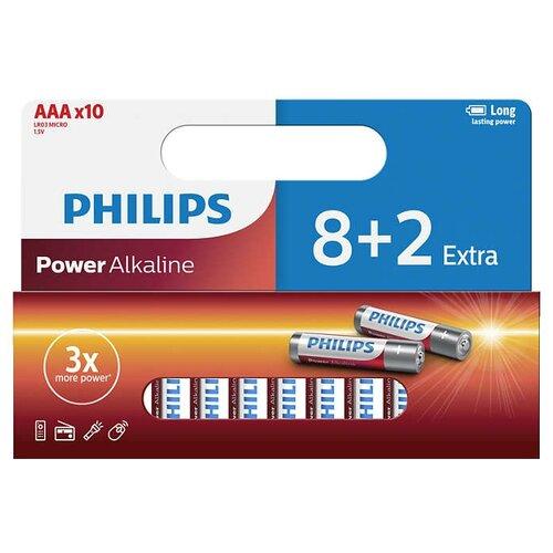 Батарейка Philips Power Alkaline ААА 10 шт блистерБатарейки и аккумуляторы<br>