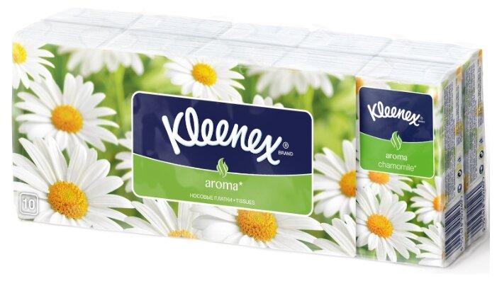 Kleenex Платки носовые бумажные ромашка, 10х10 шт.