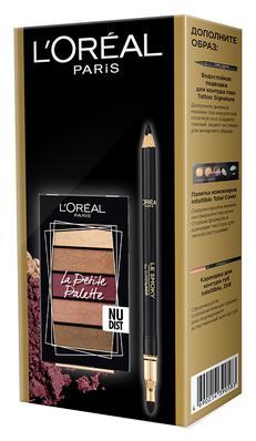 L'Oreal Paris Подарочный набор: Мини-палетка теней для век La Petite Palette, карандаш для глаз Color Riche Le Smoky