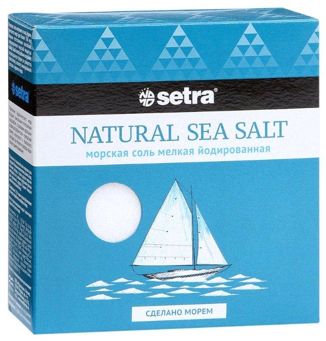 Соль морская пищевая Setra мелкая йодированная, 500 г