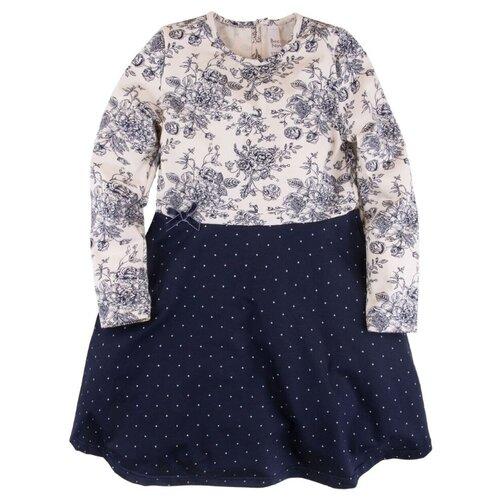 Платье Bossa Nova размер 128, молочный (розы)/синий (горошек)Платья и сарафаны<br>