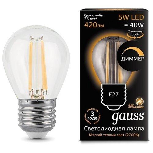 Лампа светодиодная gauss 105802105-D, E27, G45, 5Вт лампа светодиодная gauss 101505205 d gu5 3 jcdr 5вт