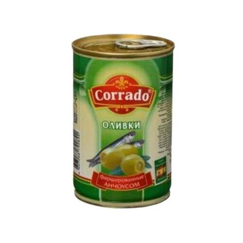 Corrado Оливки фаршированные анчоусом в рассоле, жестяная банка 300 млМаслины, оливки, каперсы консервированные<br>