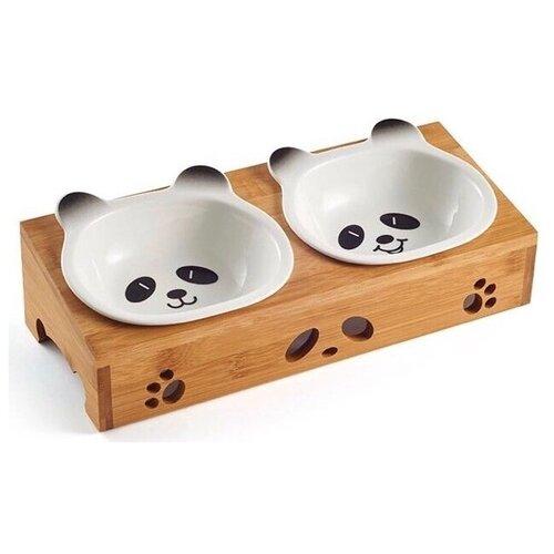 Миска Pug & Pets для кошек и собак Панда белый/коричневыйМиски, кормушки и поилки<br>