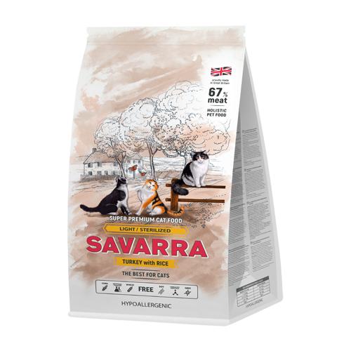 Корм для стерилизованных кошек SAVARRA с индейкой и с рисом 400 г