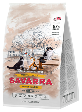 Корм для стерилизованных кошек SAVARRA с индейкой