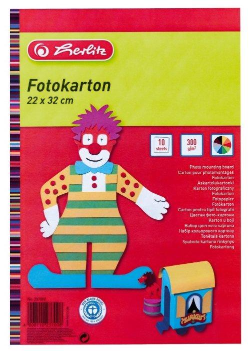 Цветной картон Herlitz, 22х32 см, 10 л., 10 цв.