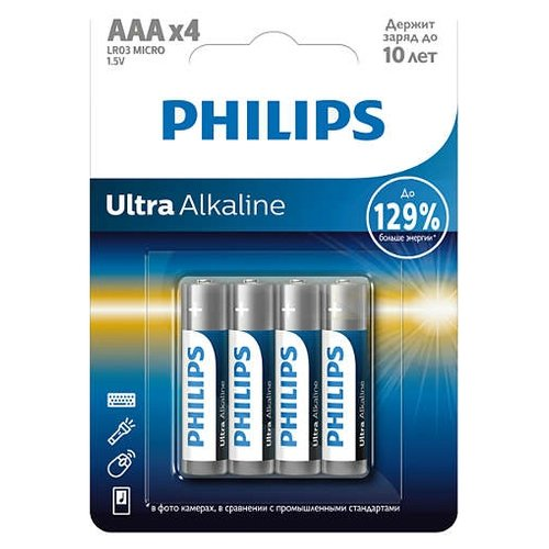 Фото - Батарейка Philips Ultra Alkaline AAA 4 шт блистер батарейка philips power alkaline aa 4 шт блистер