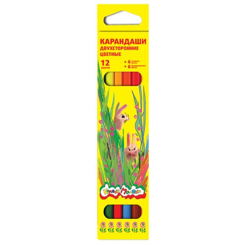 Купить Каляка-Маляка Карандаши цветные двусторонние 12 цветов (КДКМ12), Цветные карандаши