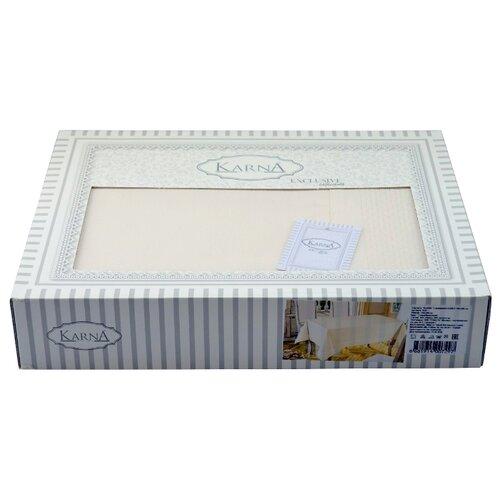 Скатерть KARNA HONEY (3019) 160х220 см кремовый karna rebeka 200x220 см кремовый