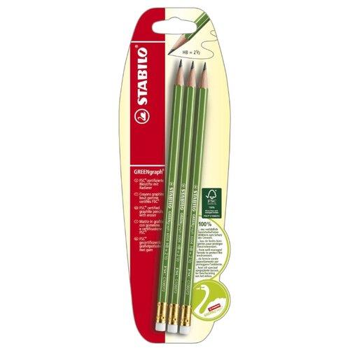 Купить STABILO Набор чернографитных карандашей GREENgraph 3 шт (B-36606-10), Карандаши