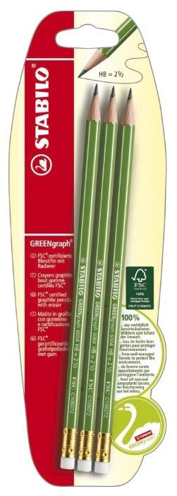 STABILO Набор чернографитных карандашей GREENgraph 3 шт (B-36606-10)