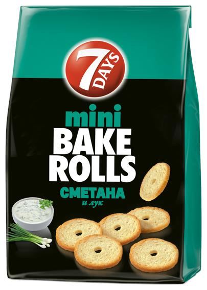7DAYS сухарики mini Bake Rolls Сметана и лук, 80 г