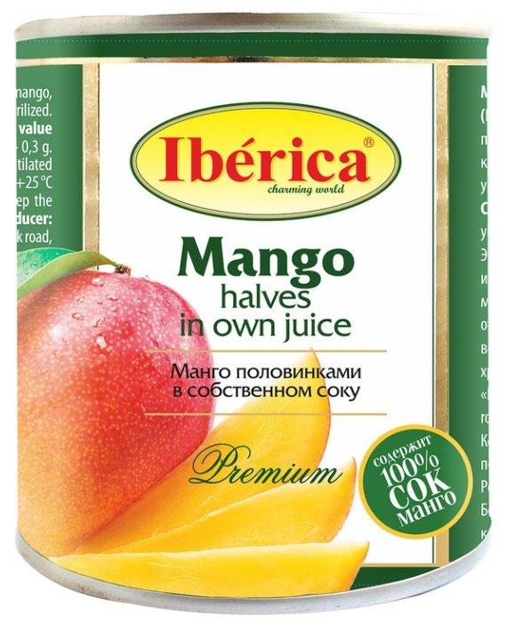Консервированное манго половинками в собственном соку, жестяная банка 425 мл