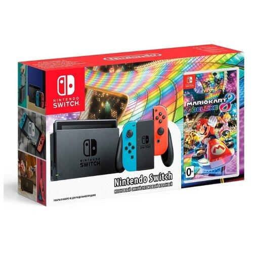 Игровая приставка Nintendo Switch красный/синий + Mario Kart 8 Deluxe