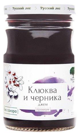 Джем Русский лес клюква и черника премиум, банка 220 г