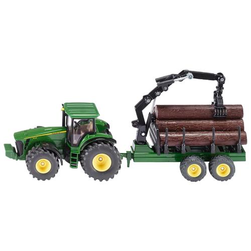Трактор Siku John Deere с трейлером для лесоматериалов (1954) 1:50 31 см зеленый цена 2017
