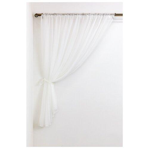 Тюль Сирень для кухни на ленте 180 см белый